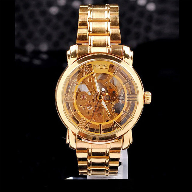 Free registered Classic watch men Gold Dial Mechanical Watches