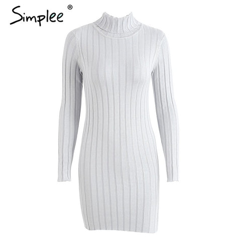 Image of Simplee Casual turtleneck long knitted sweater dress women Cotton slim bodycon dress pullover female Autumn winter dress 2017