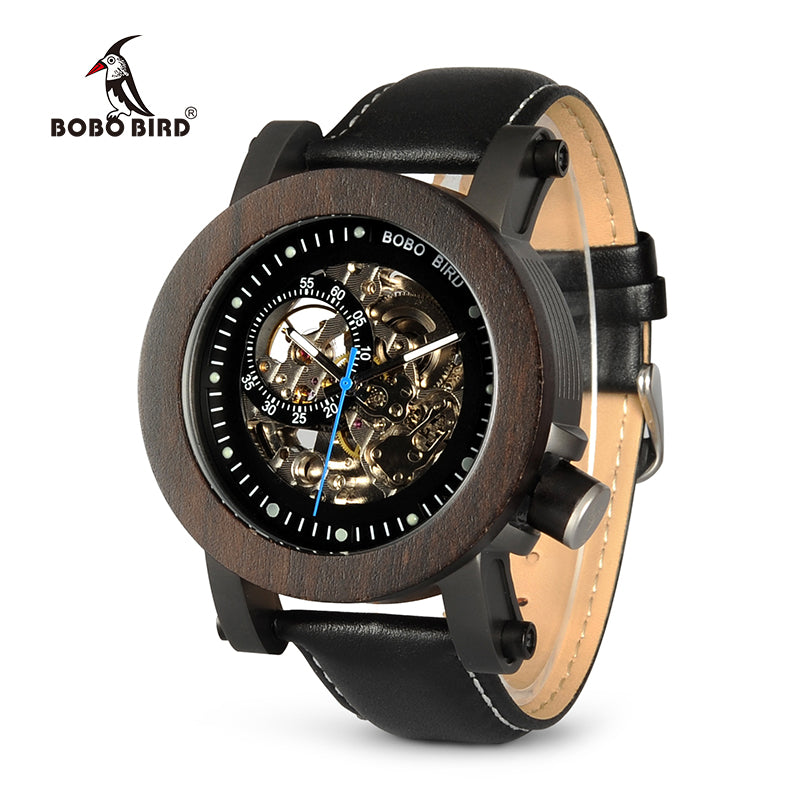 BOBO BIRD WK10 Ebony Wood Mens Watches Vintage Bronze Skeleton Male Antique Steampunk Casual Automatic Montre Homme Relogio