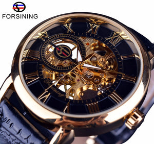 Forsining Men Watches Top Brand Luxury Mechanical Skeleton Watch Black Golden 3D Literal Design Roman Number Black Dial Clock