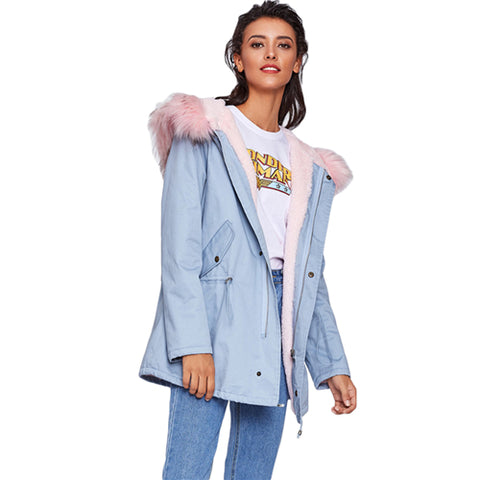 SHEIN Faux Fur Trim Hoodie Drawstring Coat Casual Women Winter Coat Blue Long Sleeve Zipper Hooded Women's Coats