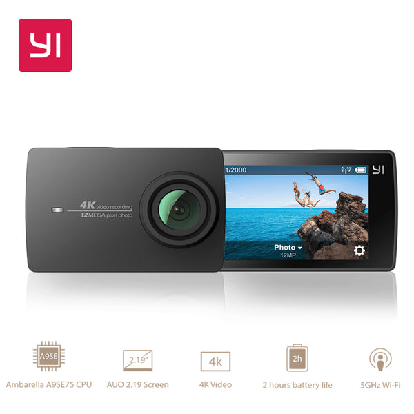 "YI 4K Action Camera 2.19""LCD 4K/30fps Tough Screen 155 Degree EIS Wifi Black International Edition Ambarella A9SE75 12MP CMOS"