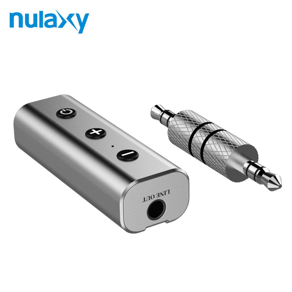 Nulaxy 3.5mm Car Bluetooth Receiver For Headphones Stainless Steel Hands-free Audio Music Receiver Wireless Bluetooth Speaker