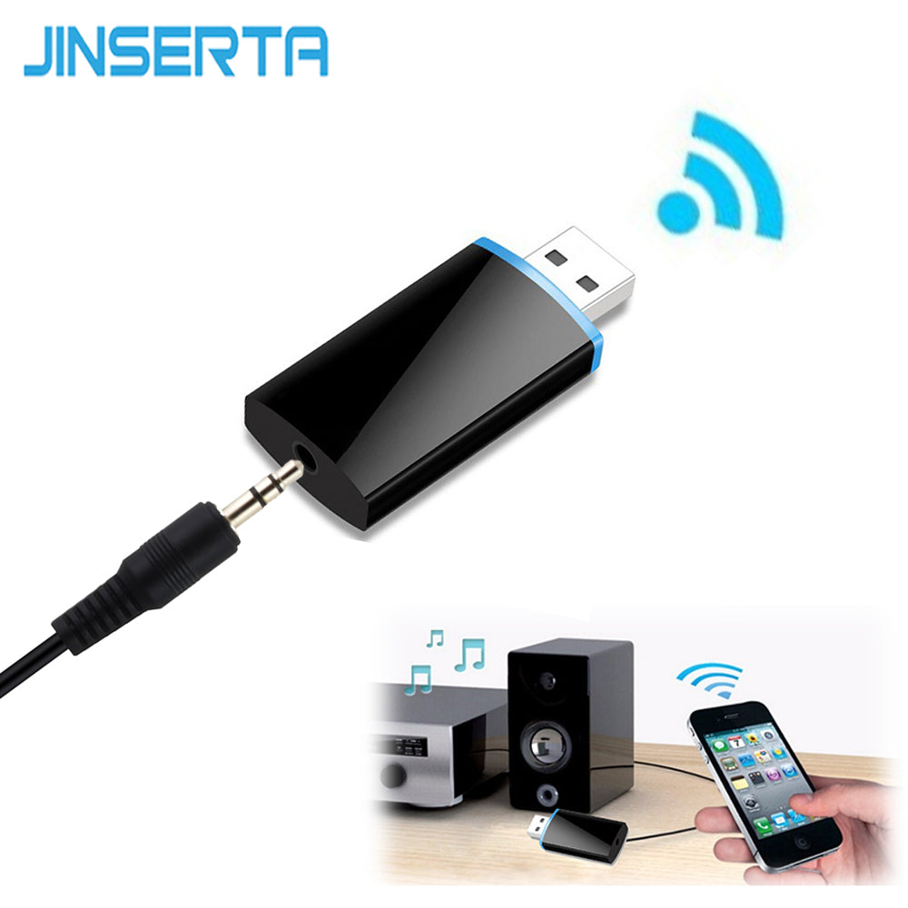 JINSERTA Mini USB Wireless 4.1 Bluetooth Receiver 3.5mm Audio Music Adapter A2DP for Headphone Home Stereo Speaker Sound System