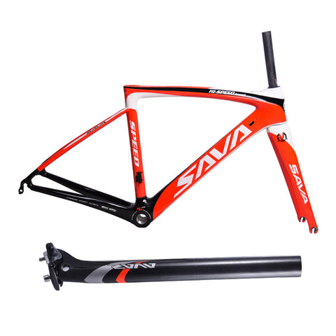 Image of SAVA High Quality T800 Carbon 700C Road Bike Frame 1050g Racing Road Bicycle Frame 48cm 50cm 52cm with Carbon Fork + Seatpost