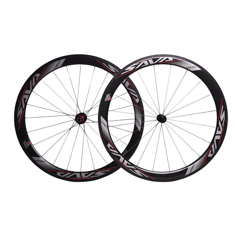 SAVA 700C Racing Bicycle Carbon Wheels 50mm Carbon Road Bike Wheelset Clincher 3K cadre carbone Wheel Chosen Four-bearing Hub
