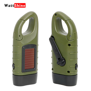 Professional Portable LED Hand Crank Dynamo Solar Power Flashlight Torch