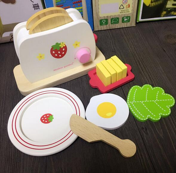 WXFTDMULIUFENG Cute Kids Baby Breakfast Pretend Role Play Wooden Kitchen Toaster Toys Child with Milk /Bread/ Butter Gifts