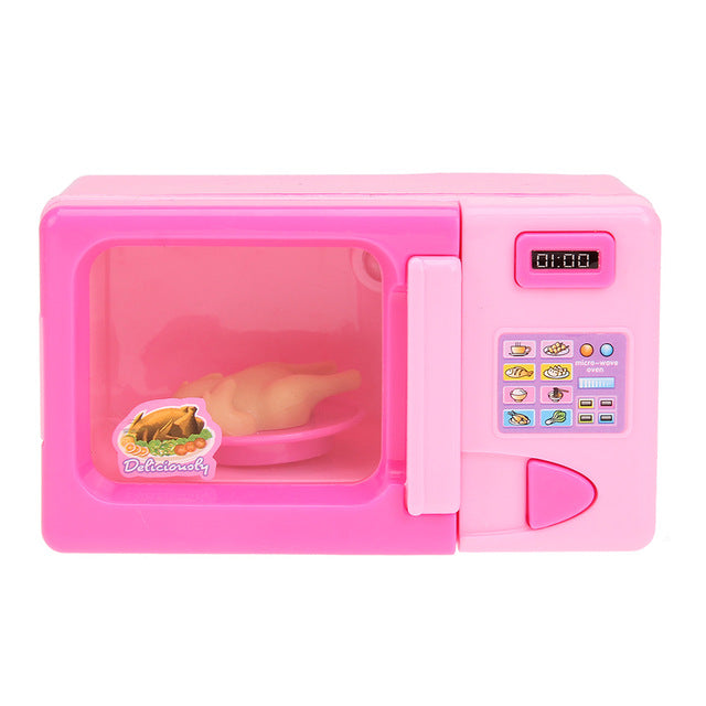 Pink Mini Simulation Microwave Oven Kitchen Toy Kids Children Pretend Role Play Home Appliances Educational Playing House Toy