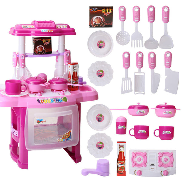 Funny Children Love Portable Kitchen Toys Set Cute Kids Kitchen Cooking Girls Toy Cooker Play Set Gift