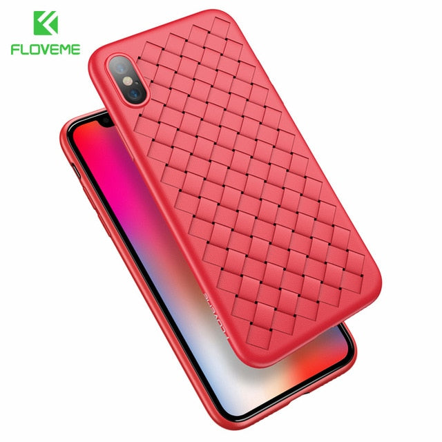 Super Soft Phone Case For iPhone 8 Luxury Grid Weaving Cases For iPhone 6 6s 7 8 Plus X Cover Silicone Accessories Black