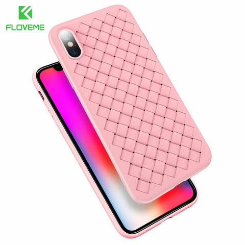 Image of Super Soft Phone Case For iPhone 8 Luxury Grid Weaving Cases For iPhone 6 6s 7 8 Plus X Cover Silicone Accessories Black