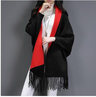 Image of Women Scarf Long Wrap Shawl Cashmere Poncho Solid Women's Scarf Cape with Sleeves