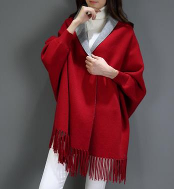 Women Scarf Long Wrap Shawl Cashmere Poncho Solid Women's Scarf Cape with Sleeves