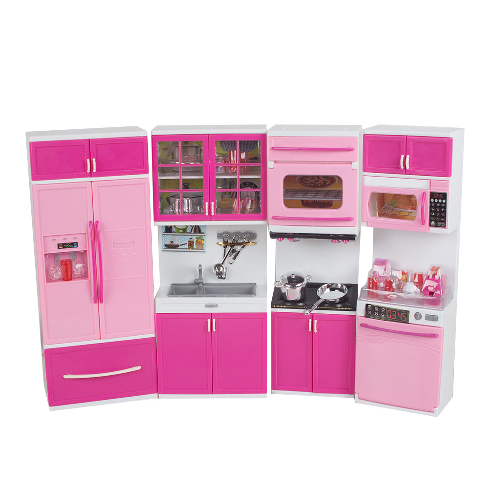 Pink Cabinet Stove Fun Kid Kitchen Pretend Play Cook Cooking Set- 18.9x12.6x2.76 in