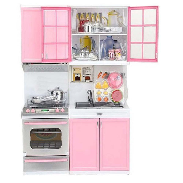 Pink Kitchen Pretend Play Cook Cooking Set Cabinet & Stove 12.5x9.5x3.3 in