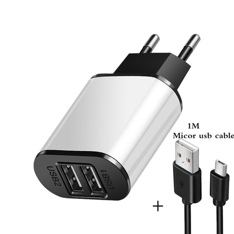 Image of 2 USB Charger 5V 2A EU Plug adapter Wall Mobile Phone Charger Portable Charge Micro Cable For Samsung Xiaomi Charging Tablet