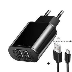 2 USB Charger 5V 2A EU Plug adapter Wall Mobile Phone Charger Portable Charge Micro Cable For Samsung Xiaomi Charging Tablet