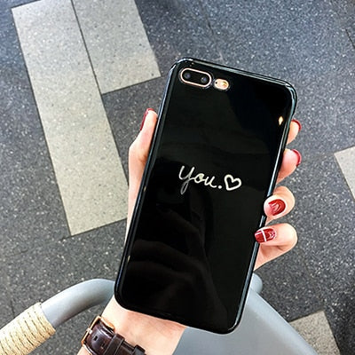 Image of Lovely Heart Painted Phone Case For iphone 6 7 8 Case Fashion Couples Back Soft TPU Cover Cases For iphone 6 6s 7 8 Plus 8 Case