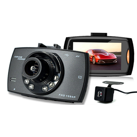 2.7 Inch Car DVR Camera Full HD 1080P 140 Degree Wide Angle Dual Lens Night Vision Dash Cam Camcorder Driving Video Recorder Parking Monitor With G-Sensor Motion Detection Loop Recording