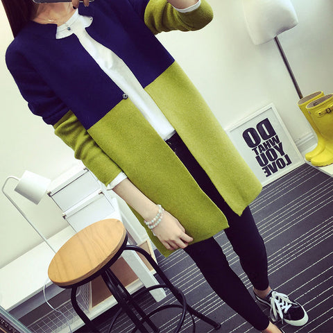 Image of Sweater Two-tone long-sleeved cardigan