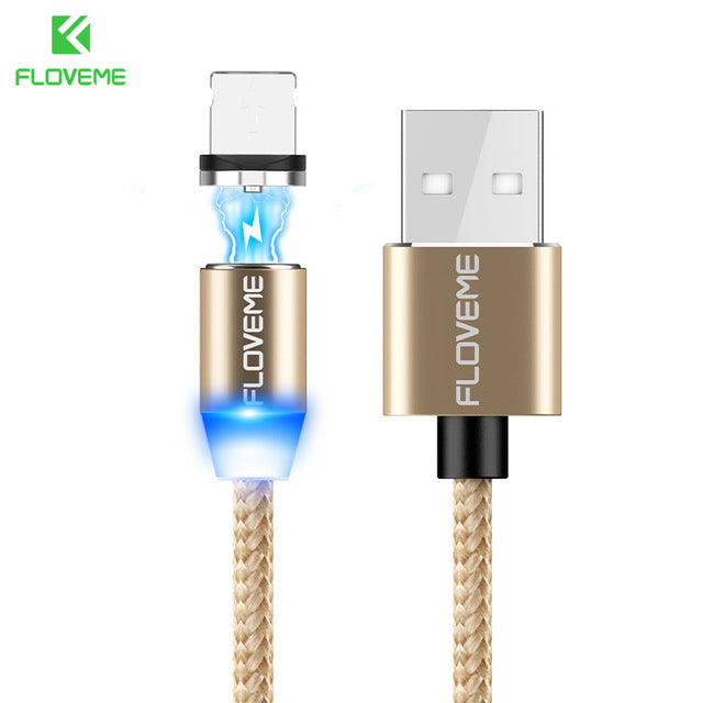FLOVEME Magnetic Cable 1m Braided Mobile LED Type C Micro USB Magnet Charger Cable For Apple iPhone X 7 8 10 Samsung Xiaomi Cabo
