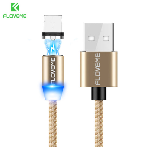 Image of FLOVEME Magnetic Cable 1m Braided Mobile LED Type C Micro USB Magnet Charger Cable For Apple iPhone X 7 8 10 Samsung Xiaomi Cabo