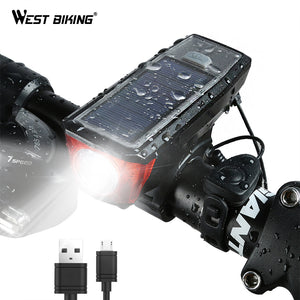 WEST BIKING Solar Power Bike Light Waterproof 350 Lumen Bicycle Bell Light LED USB Rechargeable Lamp Front Headlights Bike Light