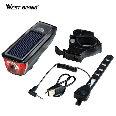 Image of WEST BIKING Solar Power Bike Light Waterproof 350 Lumen Bicycle Bell Light LED USB Rechargeable Lamp Front Headlights Bike Light