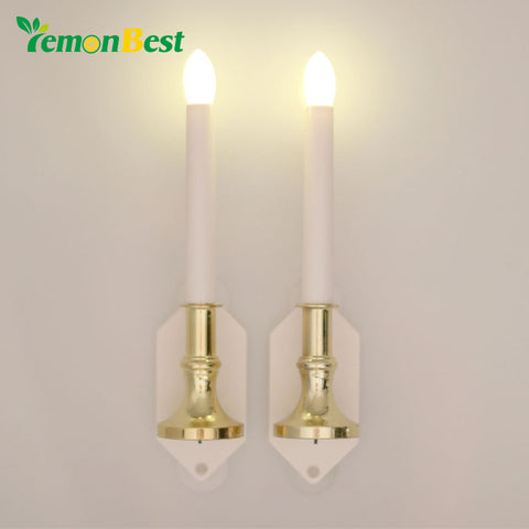 2pcs Flameless LED Solar Lamp Window Candle Light Wall Flickering/Steady on for Hallowmas Xmas Party Wedding Candles Home Deco