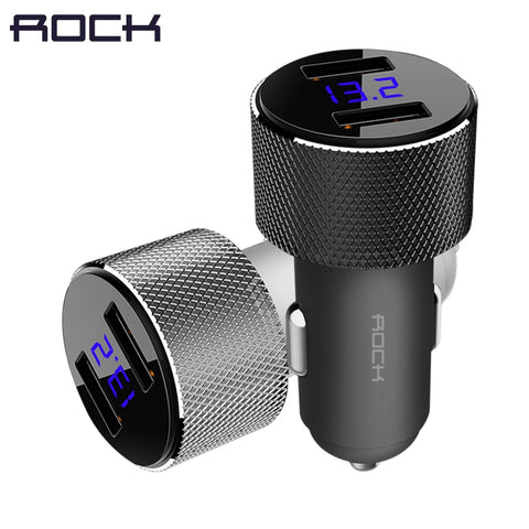 Image of ROCK Dual USB Car Charger With LED Digital Display ,Universal 3.4A 2 USB Car-Charger adapter for Mobile Phones for Tablet PC