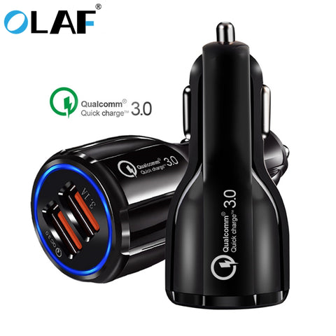 Image of Olaf Car USB Charger Quick Charge 3.0 2.0 Mobile Phone Charger 2 Port USB Fast Car Charger for iPhone Samsung Tablet Car-Charger