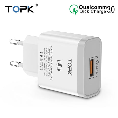 Image of TOPK 18W Quick Charge 3.0 Fast Mobile Phone Charger EU Plug Wall USB Charger Adapter for iPhone Samsung Xiaomi Huawei