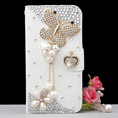 Funda de Cuero PU Tapa Decorada a Mano para Samsung S5S7S8S7edgeS9  iPhone X 5s 6 6s 7 8 plus 15