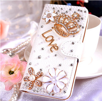 Image of Funda de Cuero PU con tapa Decorada a Mano para Samsung S5 S7 S8 S7edge S9  iPhone X 5s 6 6s 7 8 plus