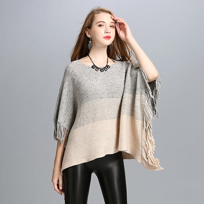 GradientColor Acrylic Cashmere Shawl Tassels Off Collar Bat Sleeve Poncho Sweater Women Autumn