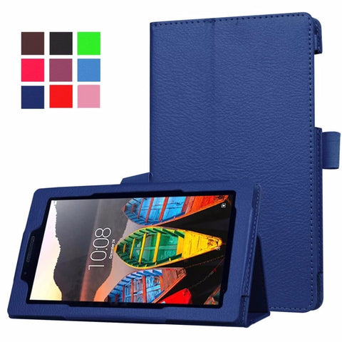 2016 Newest Litchi Grain Stand PU Leather Case For Lenovo tab 3 7.0 710 essential tab3 710F Tablet Case Flip Cover +film+stylus