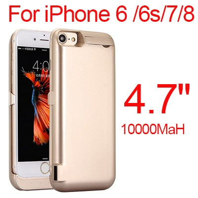 Image of 10000mAh Slim Thin BatteryCase For iPhone 8 7 6 6s PowerBankBackup Charger for iPhone 6 6s 7 8 Plus
