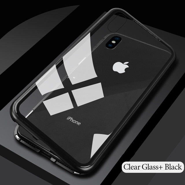 Magnetic Adsorption Flip Case for iPhone X 8 Plus 7 6 6S Tempered Glass Back Cover Luxury Metal Bumpers for iPhone 7 8 Hard Case