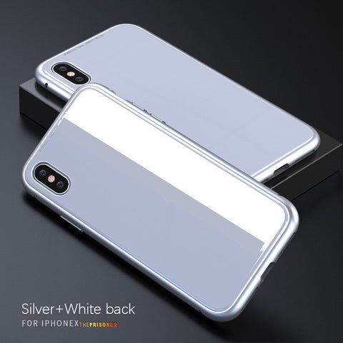 Image of Magnetic Adsorption Flip Case for iPhone X 8 Plus 7 6 6S Tempered Glass Back Cover Luxury Metal Bumpers for iPhone 7 8 Hard Case