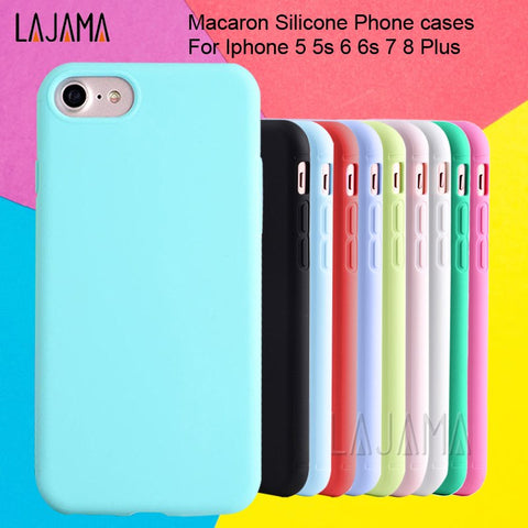 Image of For Iphone 6s case For Iphone 6 Macaron Phone Bag Cases Silicone Case for Iphone 5 5s se 6 6s 7 8 Plus Case Cover for Iphone 6