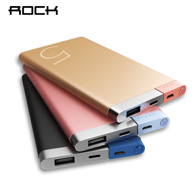 ROCK Power Bank 5000Mah Portable Charger Dual Input Ports Powerbank External Battery for iPhone Samsung Xiaomi Metal Alloy