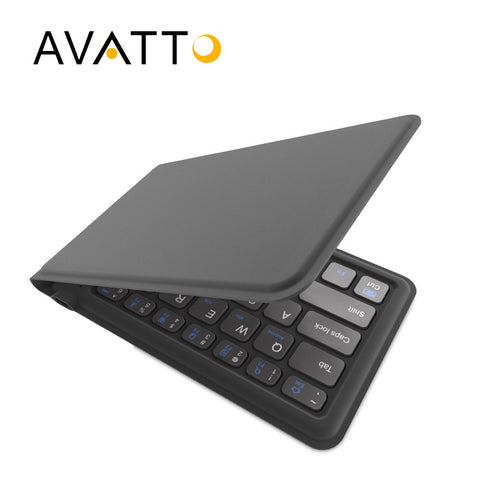 [AVATTO] A20 Portable Leather Folding Mini Keyboard Bluetooth Foldable Wireless Keypad for iphone,android phone,Tablet,ipad,PC