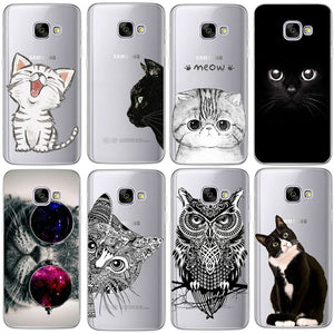 TPU Silicon Cover Cat Note 8Coque For Galaxy S5 S6 S7 Edge S8 S9 Plus A3 A5 A8 prime J1 J2 J3 J5 J7