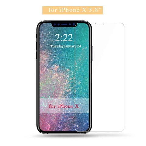 Image of 9H tempered glass For iphone X 8 4s 5 5s 5c SE 6 6s plus 7 plus screen protector protective guard film case cover+clean kits