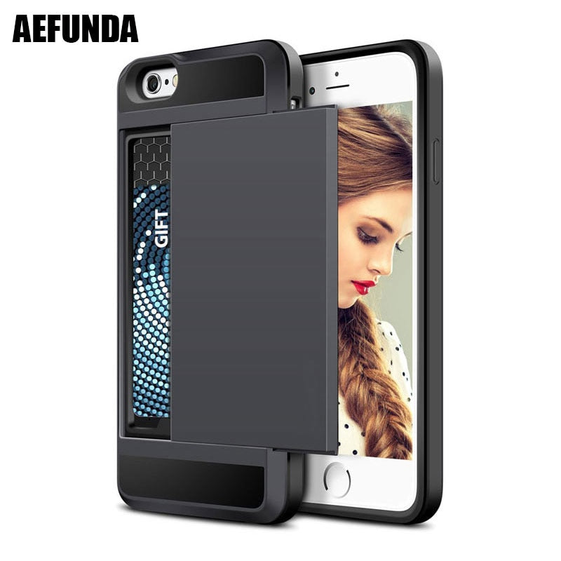 Slide Credit Card Slot Wallet Phone Case For iPhone 6 6S 8 Plus 5 5S SE Cover Armor TPU Shockproof Coque For iPhone X 7 8plus