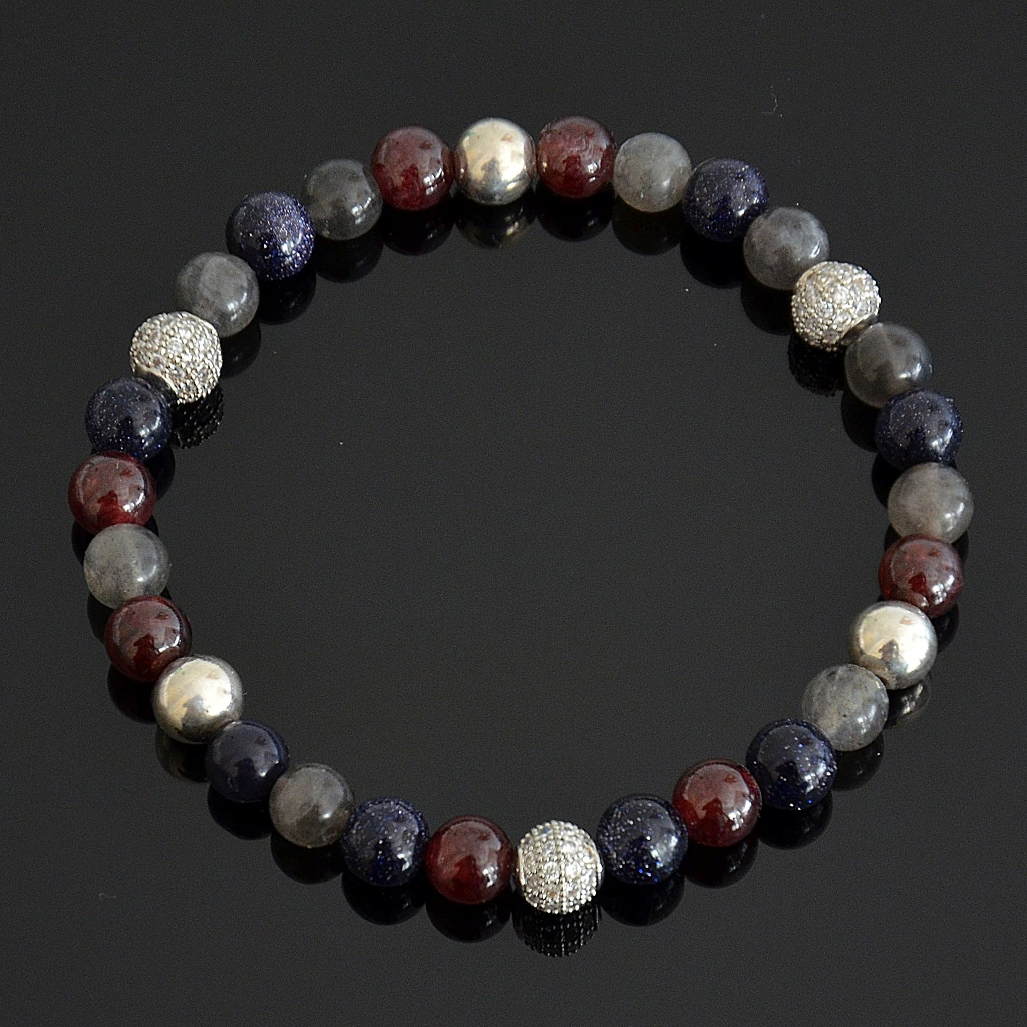 stackable clearquartz clear bracelet lotus center red quartz stack with garnet product
