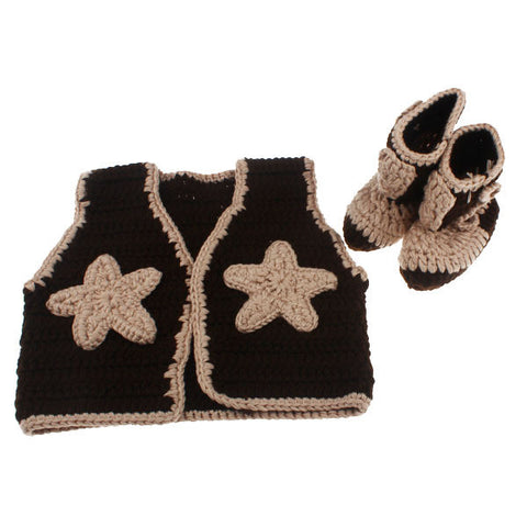 Crochet Baby Cowboy Boots And Vest Set Youwantmystuff