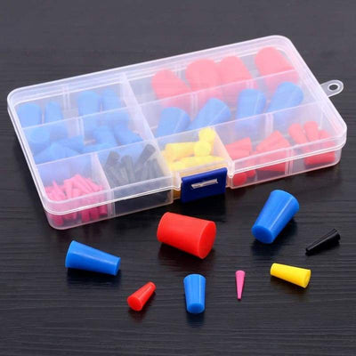 Swpeet 100Pcs High Temp Silicone Rubber Protective Tapered Plug Assortment Kit Masking System