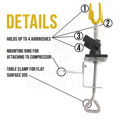 Master Airbrush® Brand Universal Clamp-On Airbrush Holder. Holds Up To 4 Airbrushes And All Brands